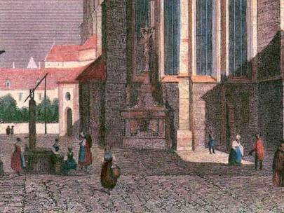 View of the church with a well - archive: A. Svoboda